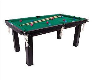 Mesa de Snooker Residencial 1,87x1,08cm Tecido Verde - Procópio