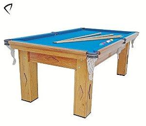 Mesa de Snooker Cerejeira com Pedra Ardósia Tecido Azul - Procópio