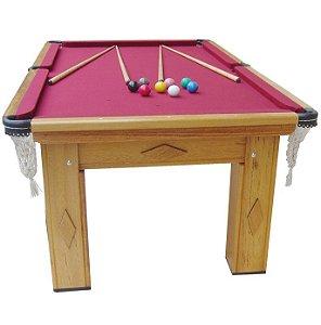 Mesa de Snooker Cerejeira com Pedra Ardósia Tecido Vinho - Procópio