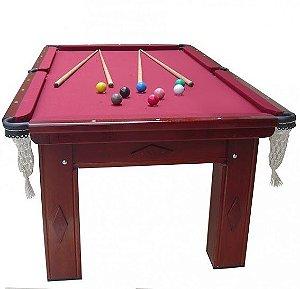 Mesa de Snooker Mogno com Pedra Ardósia Tecido Vinho - Procópio