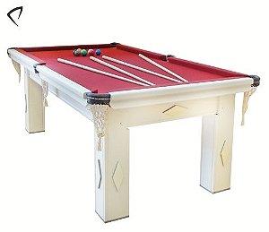 Mesa de Snooker Branca com Pedra Ardósia Tecido Vinho - Procópio