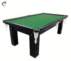 Mesa de Snooker Preta com Pedra Ardósia Tecido Verde - Procópio