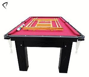 Mesa de Snooker Preta com Pedra Ardósia Tecido Vinho - Procópio