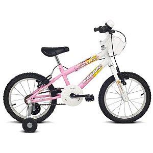 """Bicicleta Infantil Brave Rosa/Branco Aro 16"""" - Verden"""