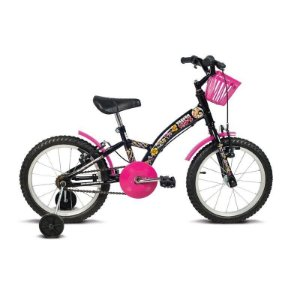 Bicicleta Aro 16 Verden Kids Preto/Rosa- Verden