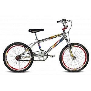 Bicicleta Aro 20 Trust Cromo Prata c/ Detalhes em Vermelho - Verden