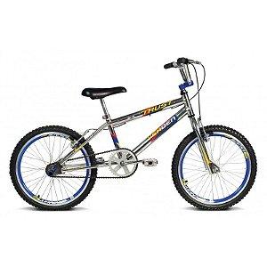 Bicicleta Aro 20 Trust Cromo Prata c/ Detalhes em Azul - Verden