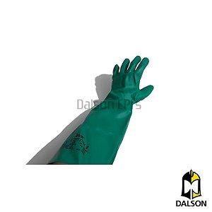 Luva nitrílica verde longa 45cm solvex ansell tamanho 8 - M