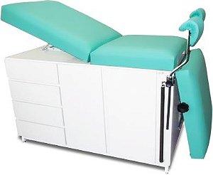 Mesa Ginecológica Completa Clean* com Suporte de Lençol, Bandeja de Fluídos e Suporte p/ Colposcópio