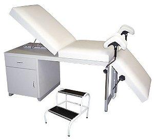 CONJUNTO Mesa Ginecológica Luxo para Exames de Ultrassonografia Completa + Escada de Dois Degraus Pintada