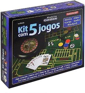 Kit 5 em 1 Jogos Roleta Baralho Dados Poquer Roleta Western