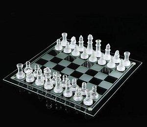 Jogo de Xadrez de Vidro Tabuleiro e Peças Profissional Luxo