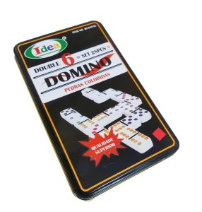 Jogo De Domino Colorido Double 6 na Lata Decorado 28 Peças