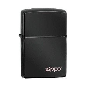 Isqueiro Zippo 24756ZL Classic Preto Ebony com Logo