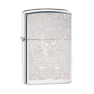 Isqueiro Zippo 28229 Harley-Davidson® Skull and Bones Polido