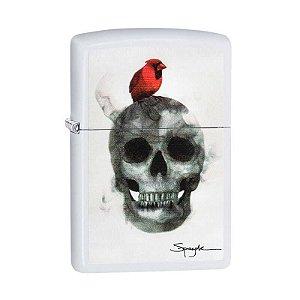 Isqueiro Zippo 29644 Classic Cardinal on Skull ~ Spazuk Branco