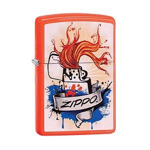 Isqueiro Zippo 29605 Classic Splash Laranja Neon