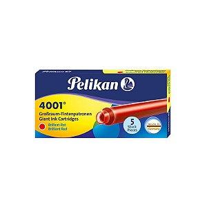 Cartucho de Tinta Grande Pelikan 4001 Vermelho (5 unidades)