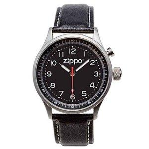 Relógio Casual Zippo 45022 C/ Pulseira Couro/Mostrador Preto