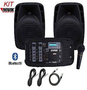 """CAIXAS NOVIK EVO 410 HANDY - 2 caixas passivas de 10"""" e mesa amplificada USB"""