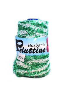 Barbante Felpudo Peluttino Mesclado Numero 6 Verde/Branco