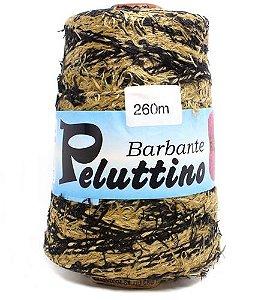 Barbante Felpudo Peluttino Mesclado Numero 6 Preto/Caramelo