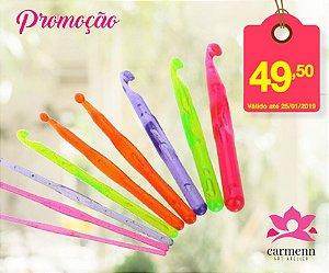 Kit de Agulhas de Plástico Colorido para Crochê com 9 unidades