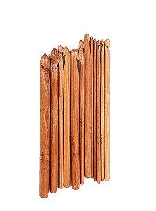Kit de Agulhas de Bambu para Crochê com 12 unidades