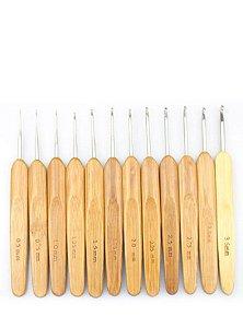 Kit de Agulhas de cabo de Bambu para Crochê com 12 unidades