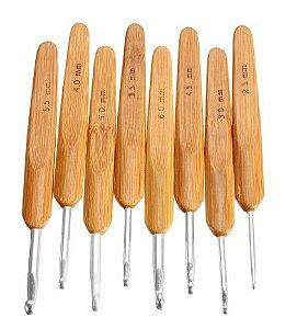 Kit de Agulhas de cabo de Bambu para Crochê G com 8 unidades
