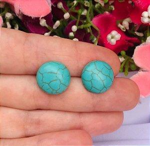 Brinco Pequeno de Pedra Natural - Howlita Turquesa