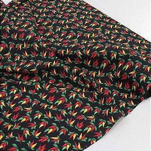 Tecido Tricoline Preto Pimentinhas 1,40x1,00m Artesanatos