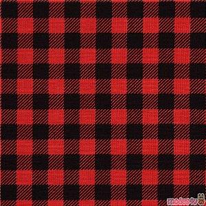 Tecido Flanela Xadrez Vermelho e Preto 1,47x1,00m para Roupas