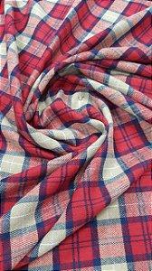 Tecido Flanela Xadrez Vermelho, Bege e Azul 1,47x1,00m para Roupas