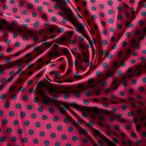 Tecido Cetim Vermelho Poá Preto 1,40x1,00m