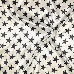 Tecido Cetim Branco com estrelas pretas 1,40x1,00m