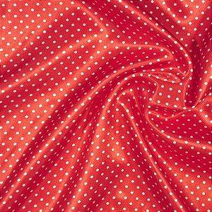 Tecido Cetim Vermelho Poá Mini 1,40x1,00m