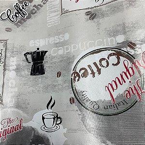 Toalha de Mesa Térmica Plástica Coffe Italiano 1,40x1,00m
