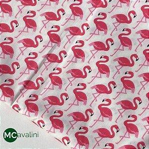 Tecido Tricoline Flamingos Branco e Rosa 1,40x1,00m Artesanatos