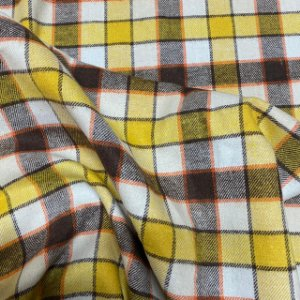 Tecido Flanela Xadrez Amarelo e Marrom 1,47x1,00m para Roupas