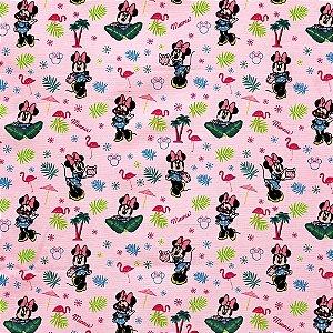 Tecido Minnie 1,40x1,00m Infantil Impermeabilizado Fundo Florzinhas