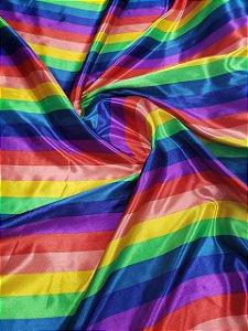 Tecido Cetim Estampado Listrado Colorido 1,40x1,00m