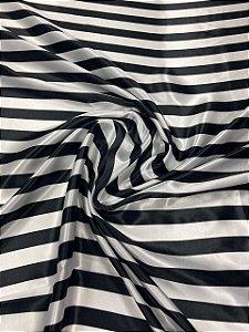Tecido Cetim Estampado 1,40x1,00m Listras Branco e preto