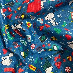Tecido Tricoline Snoopy 1,40x1,00m Azul