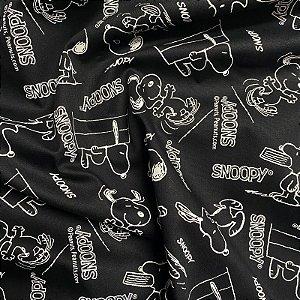 Tecido Tricoline Snoopy 1,40x1,00m Preto e Branco