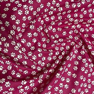 Tecido Tricoline Patinhas Rosa 1,40x1,00m
