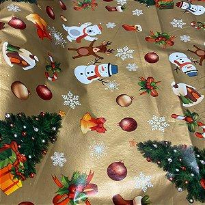 Toalha de mesa Plástica Térmica Dourada Natal 1,40x1,00 Cozinha Decoração