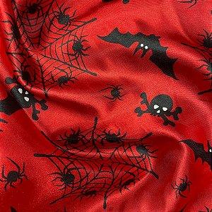 Tecido Cetim Estampado 1,40x1,00m Vermelho Halloween