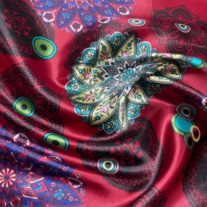 Tecido Cetim Estampado 1,40x1,00m  Mandala Chinesa