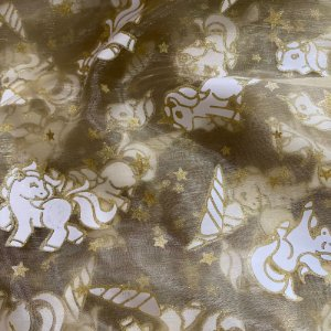 Tecido Organza Cristal Bordado Unicórnio - 1,45x1,00m Dourado
